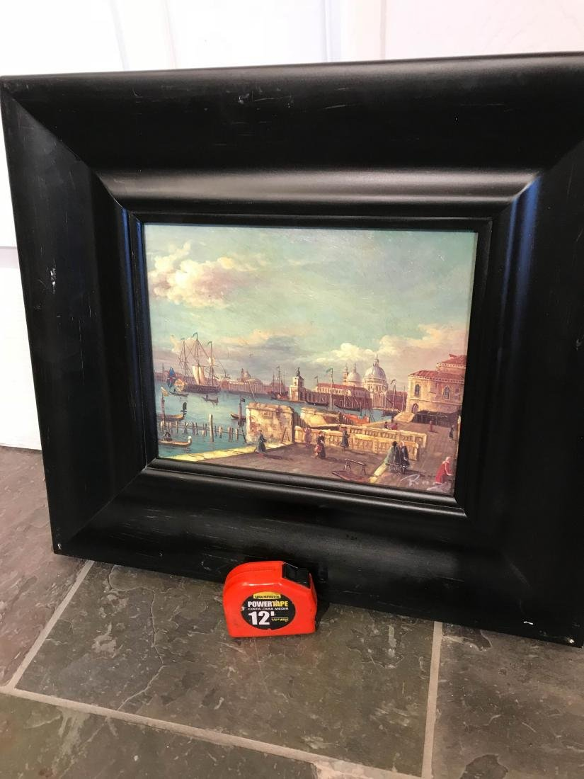 Small Oil Painting of Italian Sea Port Scene - 9
