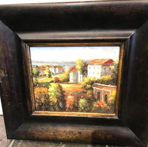 Small Oil Painting of Italian Countryside, Framed