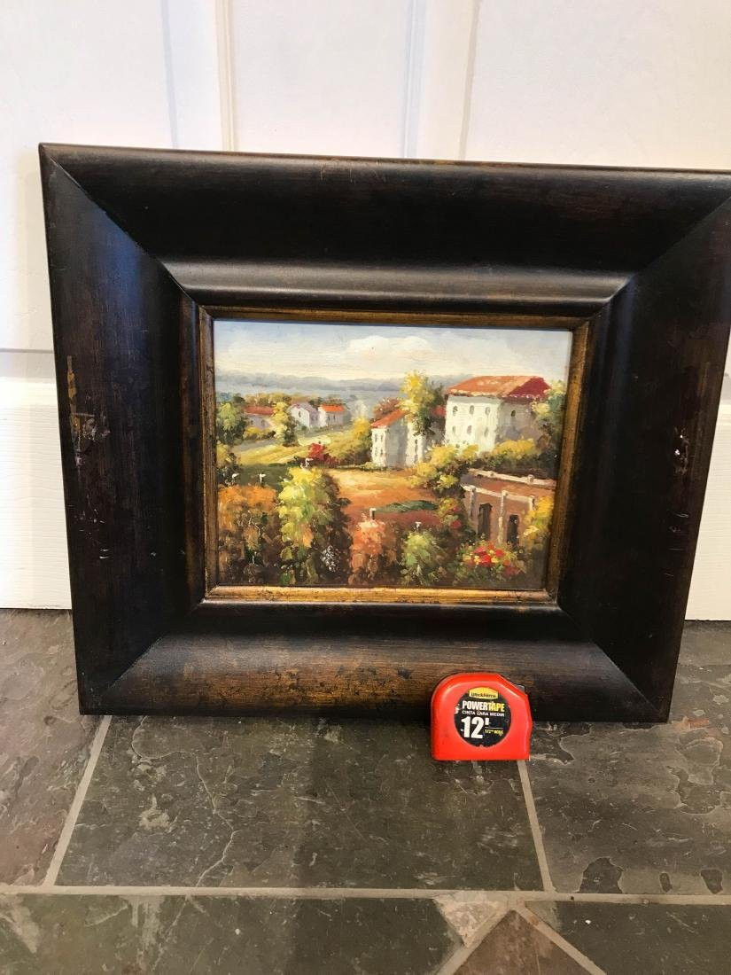 Small Oil Painting of Italian Countryside, Framed - 7