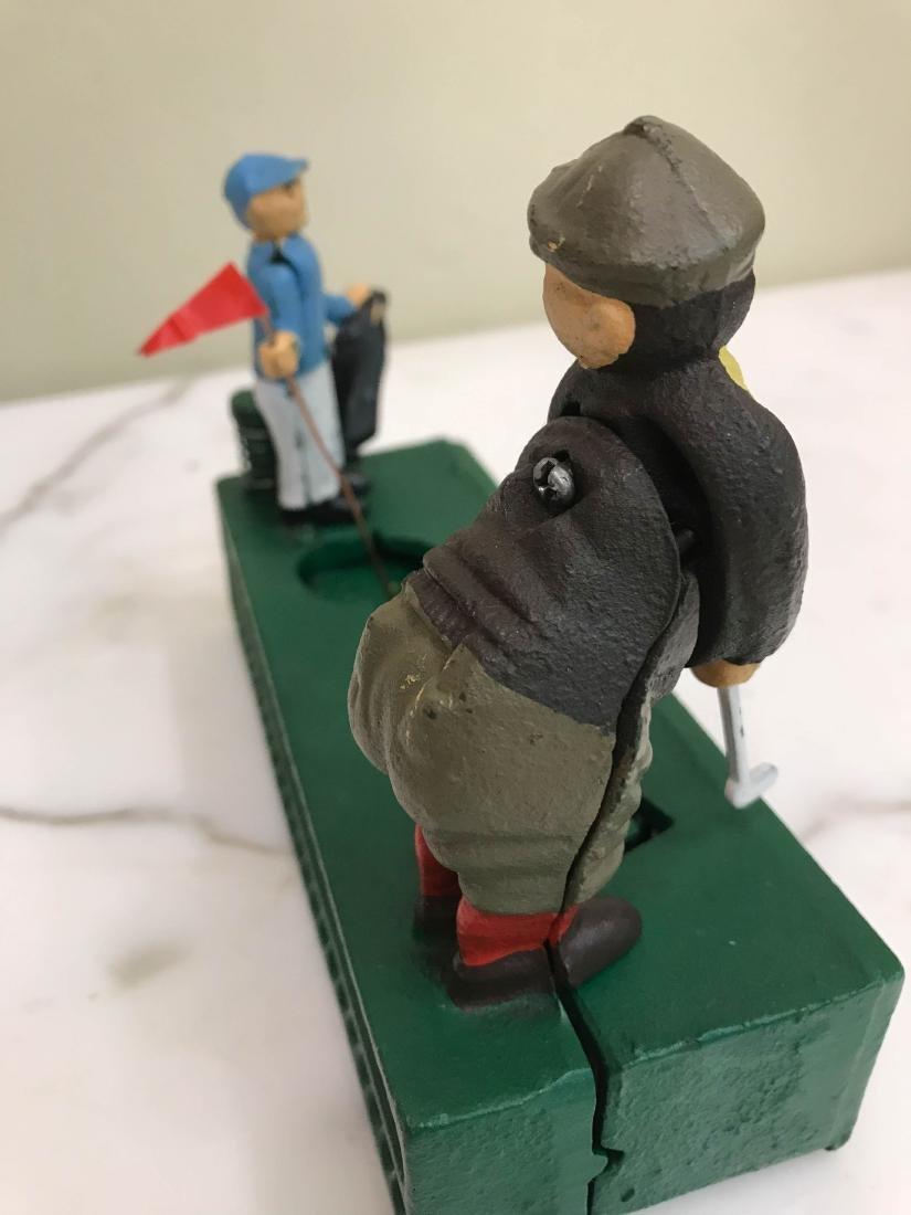 Cast Iron Golfer with Caddy Mechanical Bank - 9