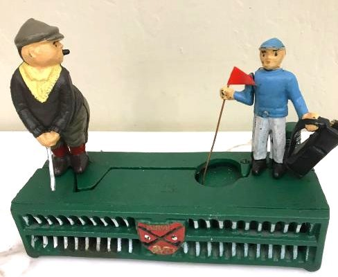 Cast Iron Golfer with Caddy Mechanical Bank