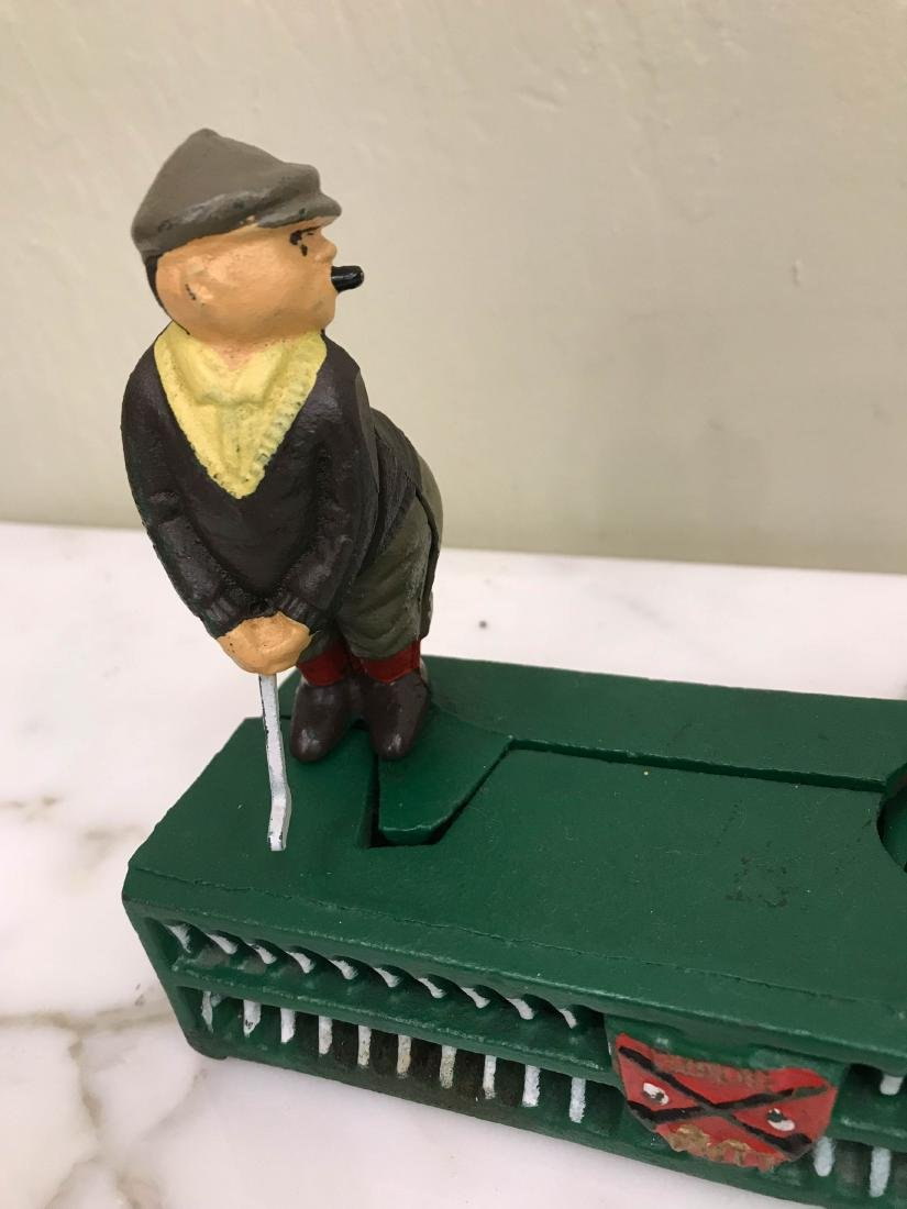 Cast Iron Golfer with Caddy Mechanical Bank - 2