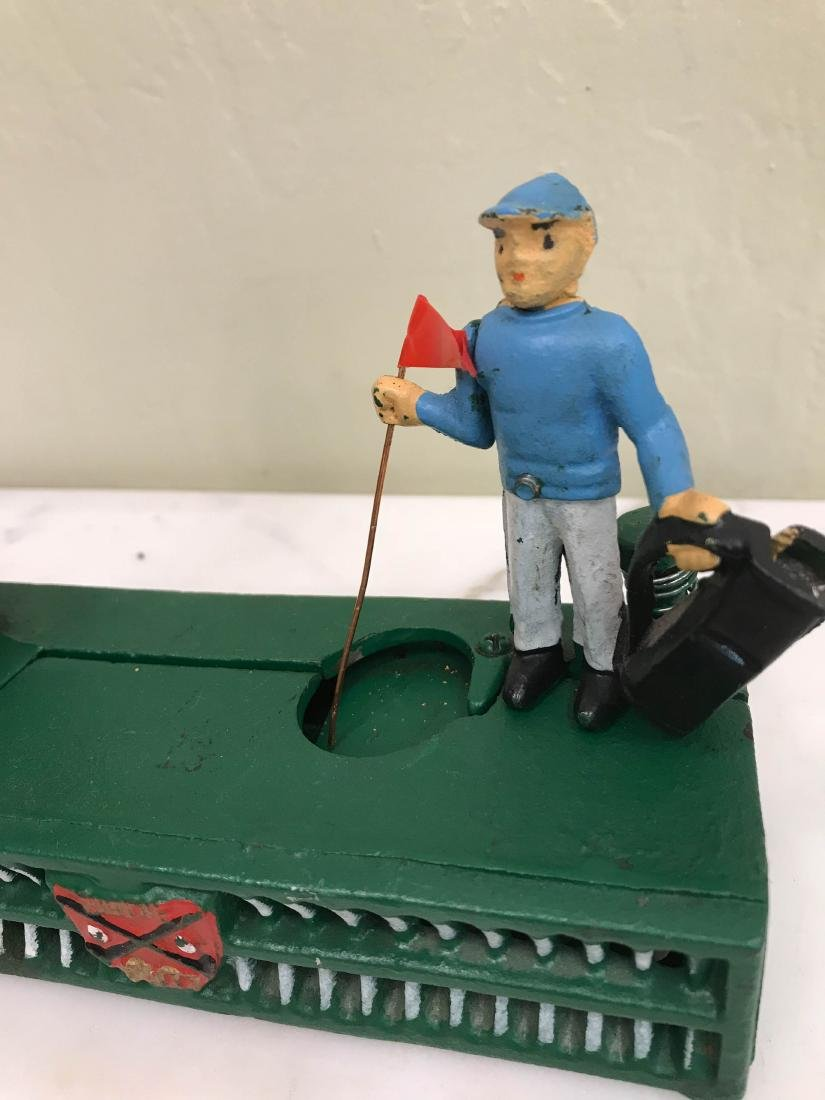 Cast Iron Golfer with Caddy Mechanical Bank - 3