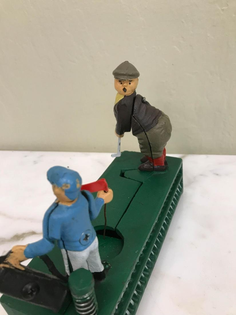 Cast Iron Golfer with Caddy Mechanical Bank - 4