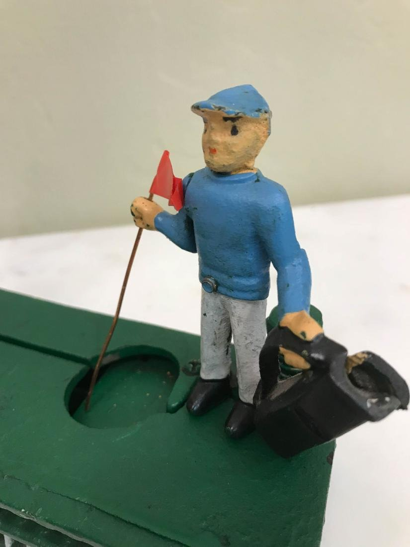 Cast Iron Golfer with Caddy Mechanical Bank - 5