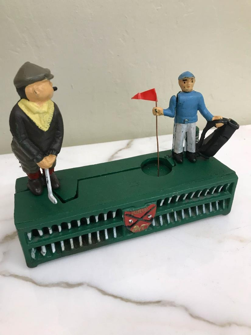 Cast Iron Golfer with Caddy Mechanical Bank - 7