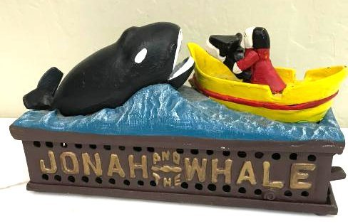 """Jonah the Whale"" Cast Iron Mechanical Bank"