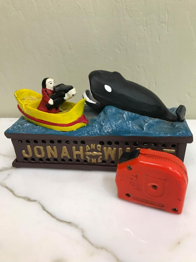 """Jonah the Whale"" Cast Iron Mechanical Bank - 7"