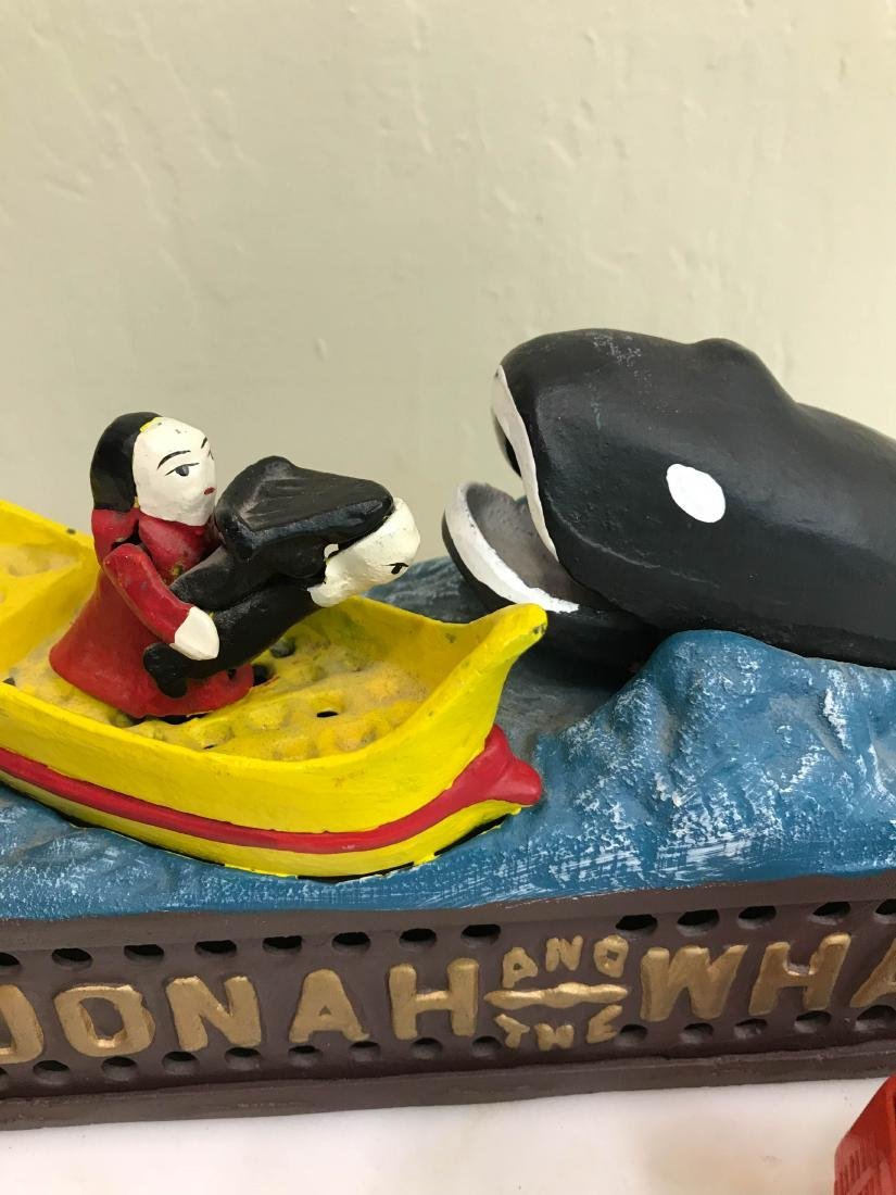 """Jonah the Whale"" Cast Iron Mechanical Bank - 8"