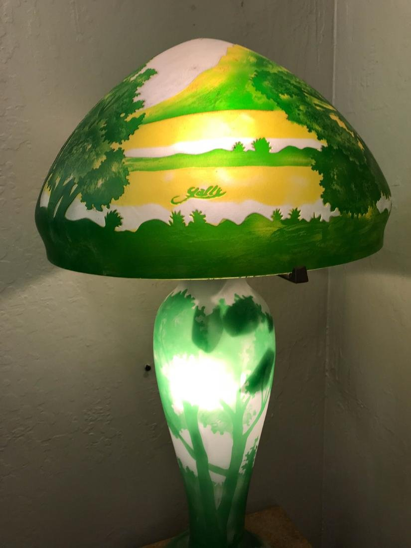 Como Glass Table Lamp w/ Tree and Mountain Scenes - 5