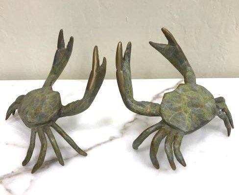 Pair of Multi-Patinated Bronze Crabs