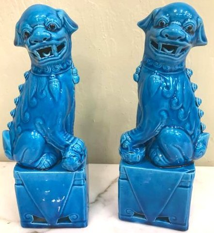 Pair of Porcelain Chinese Turquoise Foo Dogs