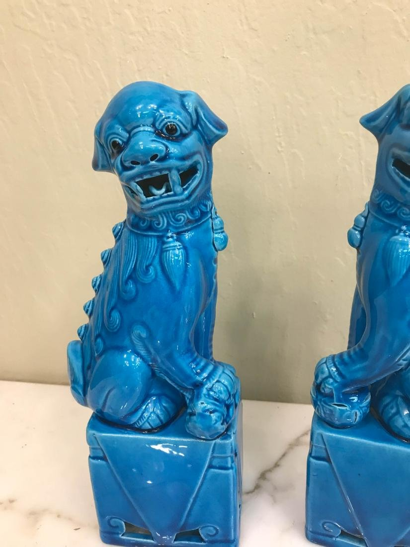 Pair of Porcelain Chinese Turquoise Foo Dogs - 3