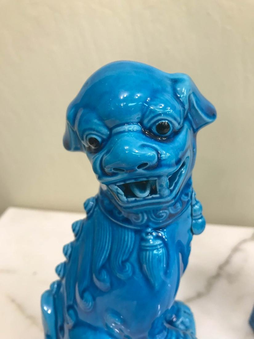Pair of Porcelain Chinese Turquoise Foo Dogs - 7