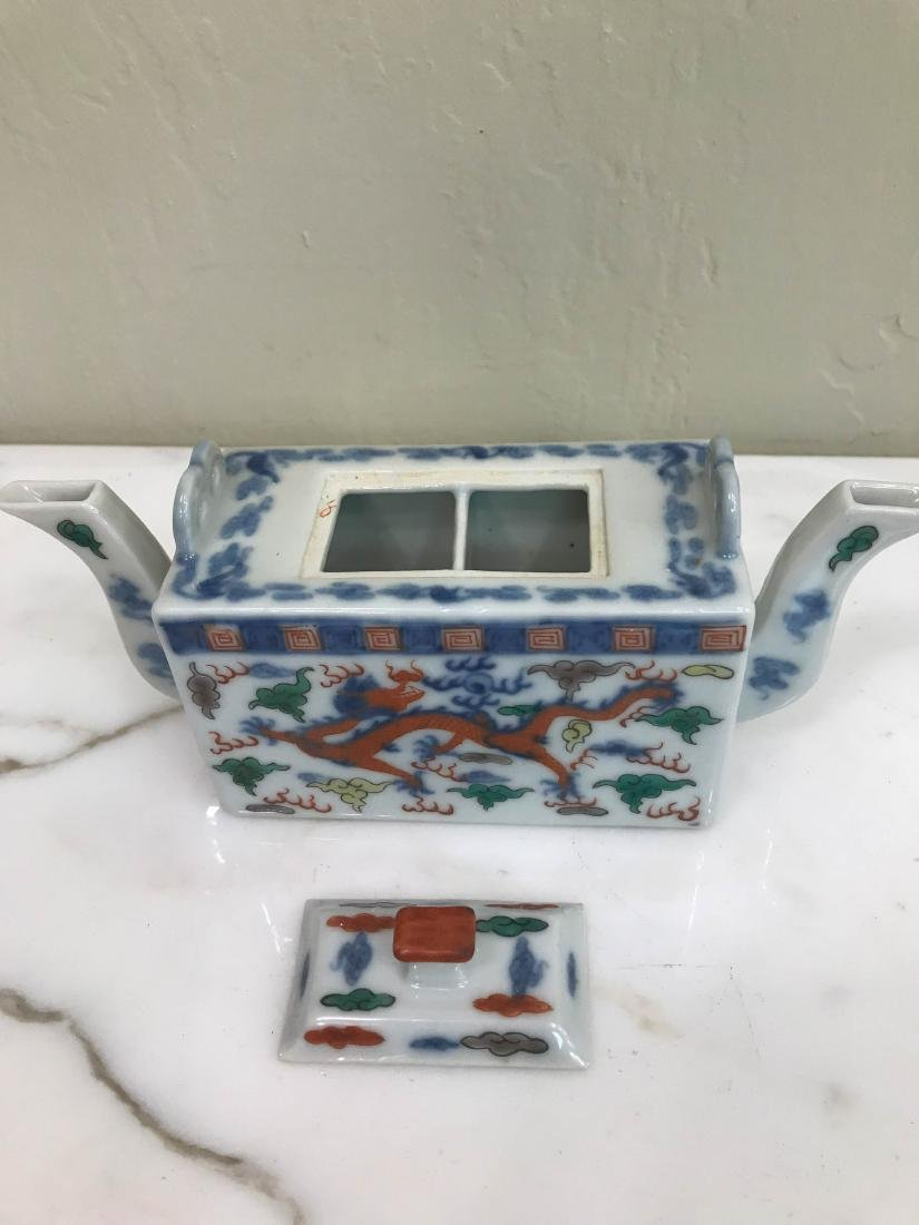 Miniature Porcelain Chinese Teapot w/ Two Spouts - 3