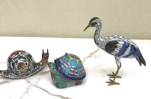Set of 3 Cloisonne Animals: Turtle, Snail, Bird