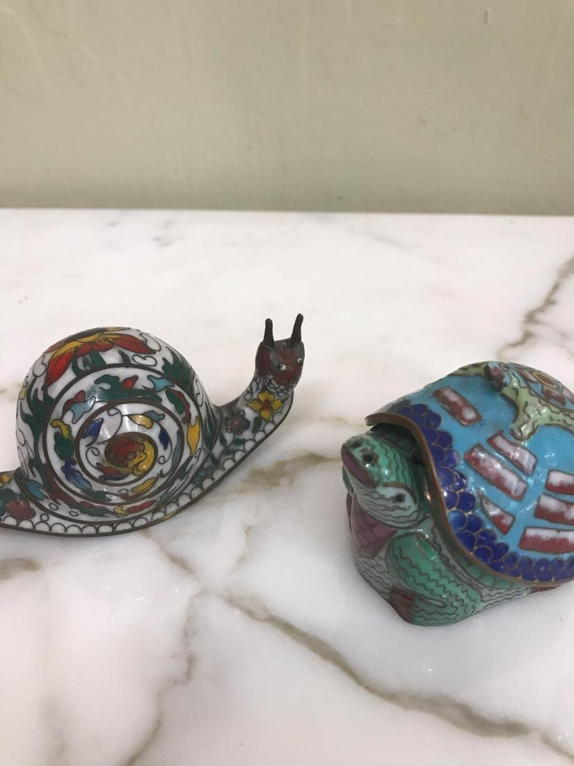 Set of 3 Cloisonne Animals: Turtle, Snail, Bird - 3