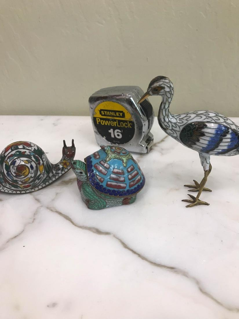 Set of 3 Cloisonne Animals: Turtle, Snail, Bird - 5