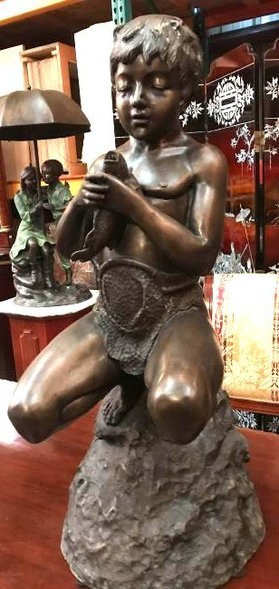 Unique Dual-Patinated Bronze Fountain of Boy w/ Fish