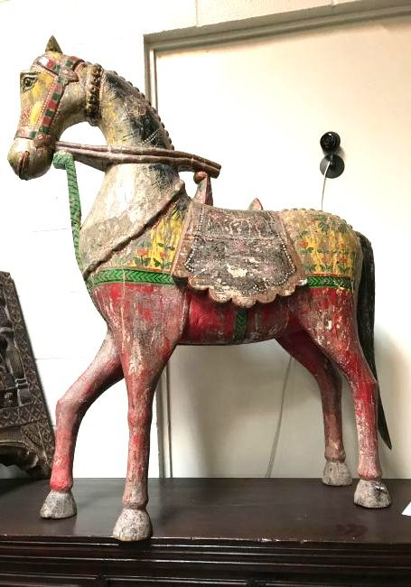 Antique 19th Century Hand-Carved Wooden Horse