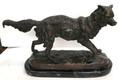 Unique Bronze Statue of Fox on Marble Base