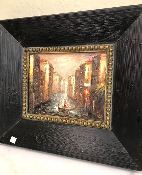 Oil on Panel Painting w/ Venice Scene of Man in Boat