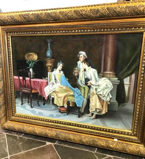 Oil on Canvas Painting of a European Scene, Signed