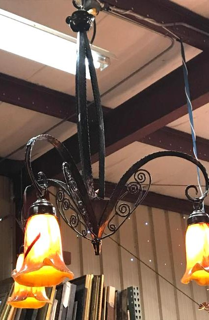 Art Deco Hand-Blown Glass Wrought Iron Chandelier