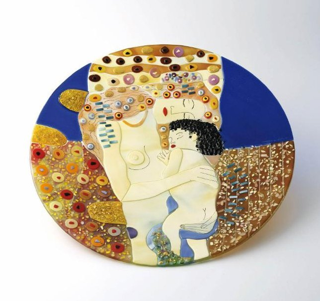 Italian Mosaic Glass Plate of Mother and Child, Signed