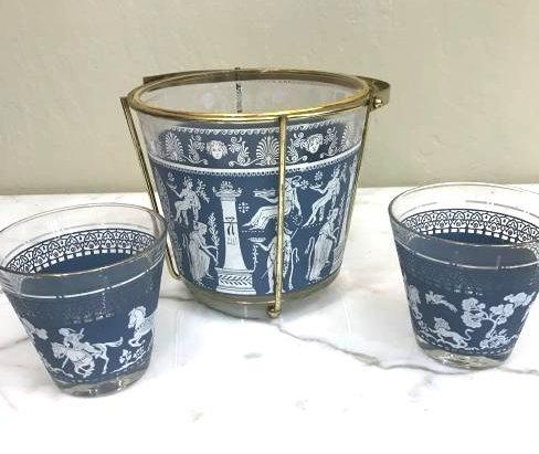 Wedgewood-Style Ice Bucket w/ Two Glasses