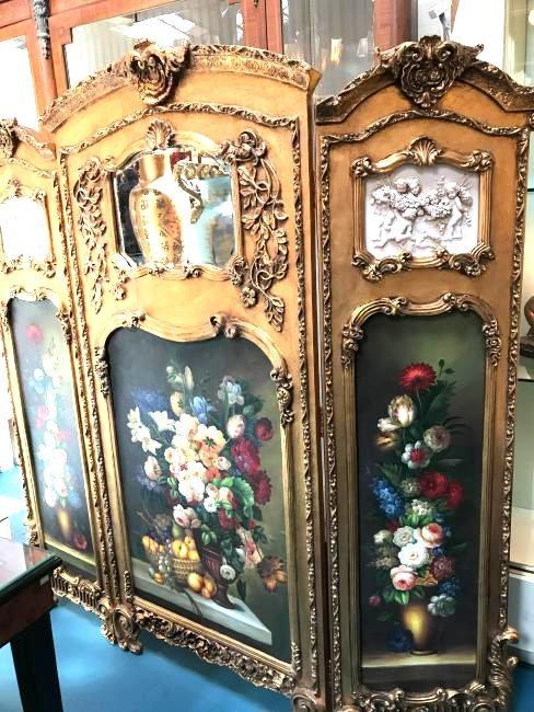 3 Panel Gilded Wood Hand-Painted Screen w/ Cherubs