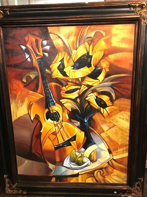 Abstract Oil on Canvas Painting of Guitar and Flowers