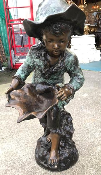 Bronze Statue/Fountain of Boy Holding Seashell