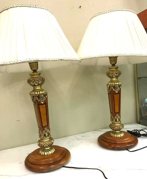 Pair of Wood Gilded Bronze Table Lamps