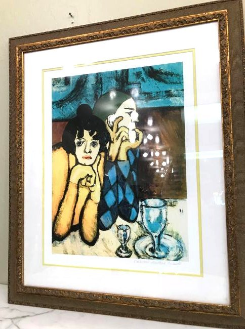 """""""Harlequin and His Companion"""" Picasso Print, Framed"""
