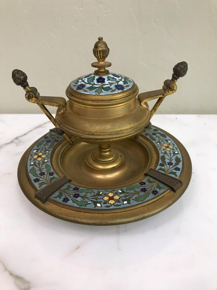 19th Century French Champleve Ink Well