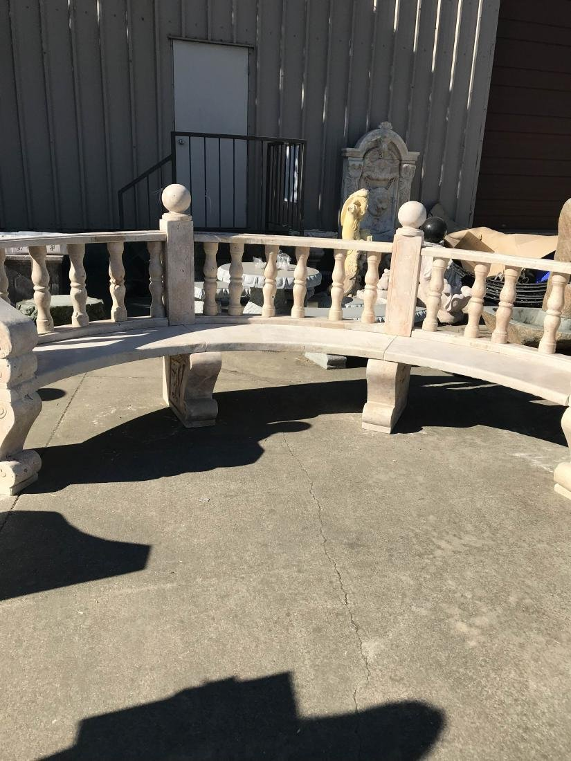 Hand-Carved Marble Half-Moon Shaped Bench