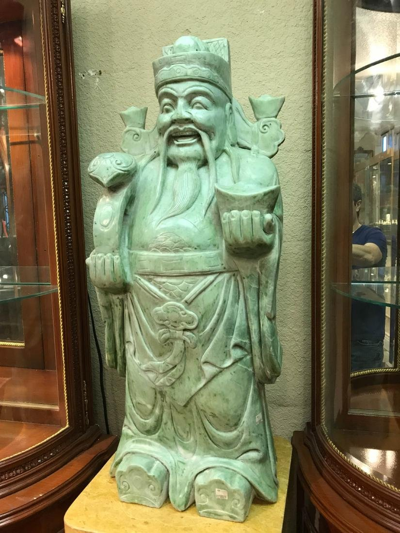 Carved Jade Happy Emperor of China Statue