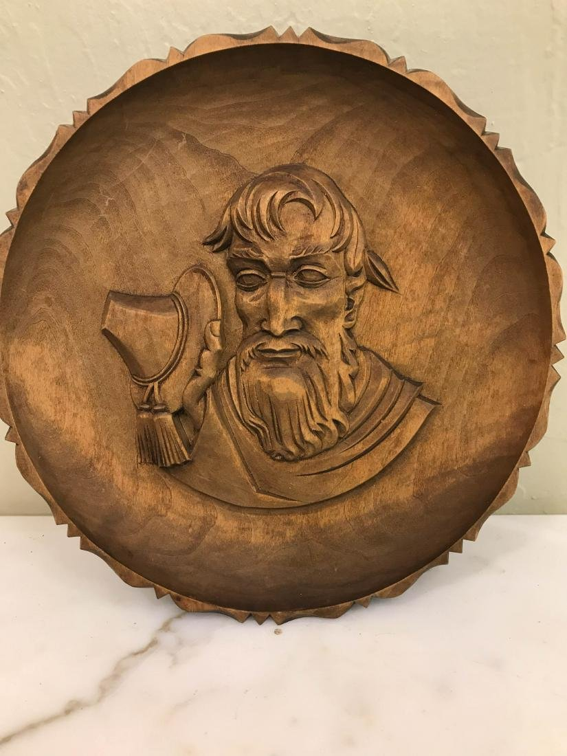 Hand-Carved Wooden Plate-Shaped Wall Hanging