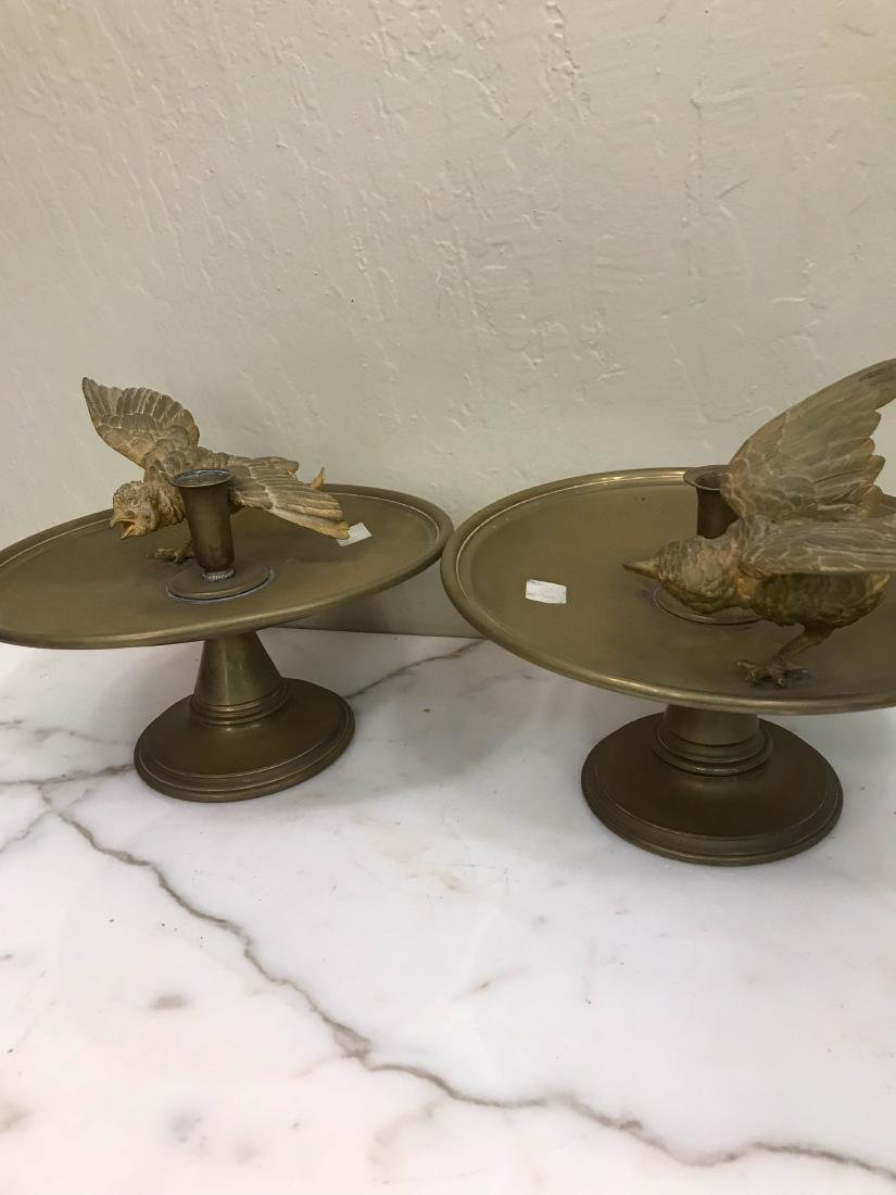 Pair of Antique Bronze 24k Candle Holders w/ Birds