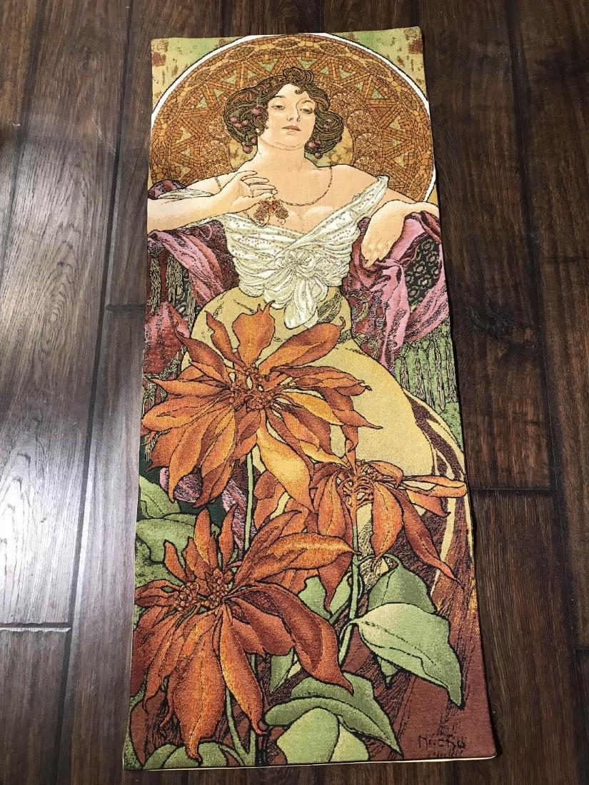 Tapestry of Alphonse Mucha Art of Woman w/ Flowers