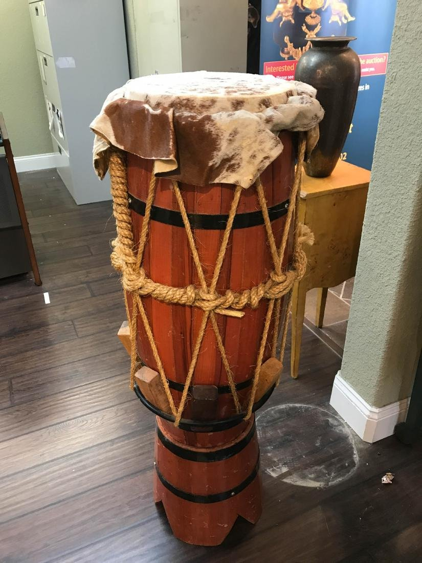 """Wooden African Drum with Animal Skin 44""""H"""
