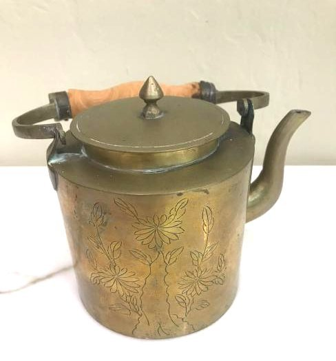 Antique Etched Brass Teapot w/ Wood Handle