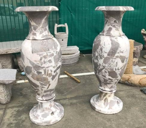 Pair of Large White and Maroon Marble Vases