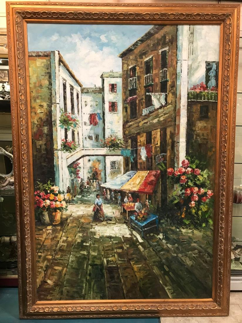 Oil on Canvas Painting of Italian Street Scene, Signed