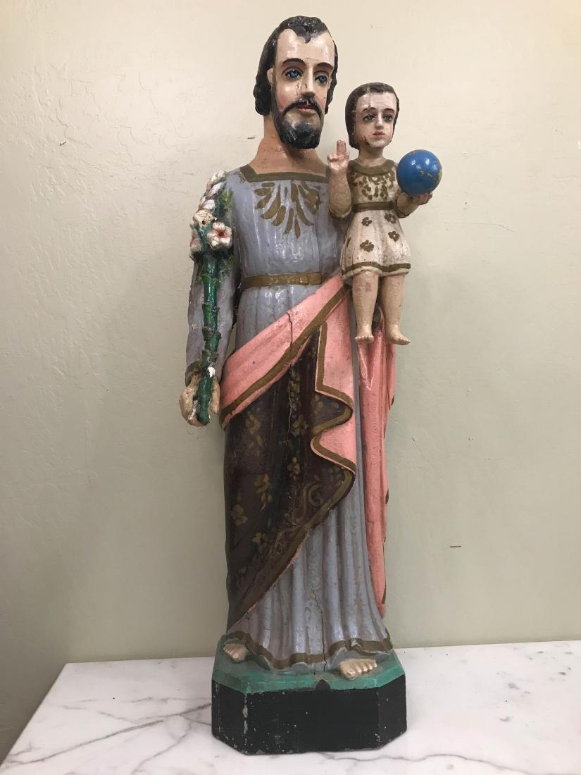 Antique San Antonio and Christ Child Wood Statue