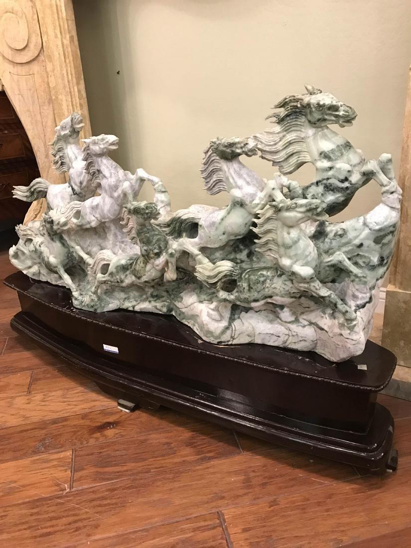 Hand-Carved Jade Statue of Stampeding Horses