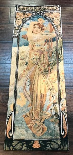 Art Deco Belgium Tapestry of Woman w/ Flowers