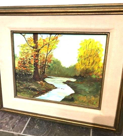 Vintage Oil on Canvas Painting of Creek Scene