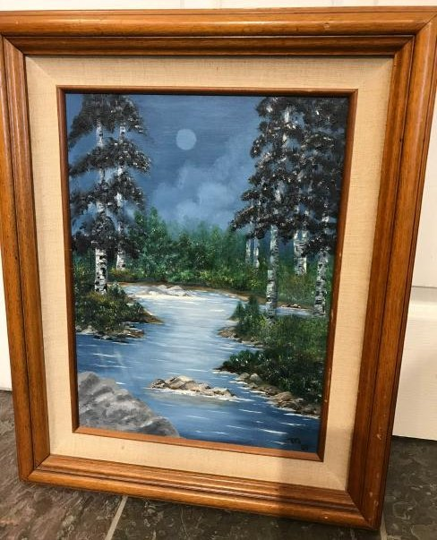 Oil on Canvas Painting of Evening River Scene, Signed